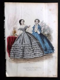 Journal des Demoiselles C1850 Antique Hand Col Fashion Print 74